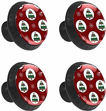 FCZ 4 Pieces Red Christmas Tree Drawer Knobs Pull