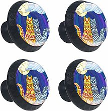 FCZ 4 Pieces Stained Glass Cats Couple Moon Drawer