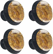 FCZ 4 Pieces Vintage Old World Map Drawer Knobs