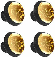FCZ 4 Pieces Yellow Daisy Flowers Drawer Knobs