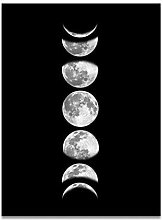 Fdit Moon Phases Canvas Painting Rimless Paintings