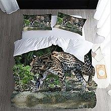 FDONTR 2/3pcs Bedding Set 3D Leopard animal