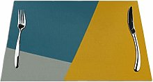 Feamo Chalk Teal Mustard Table Placemats Washable