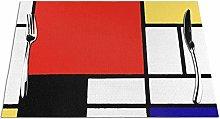 Feamo Mondrian Table Placemats Washable Non-slip