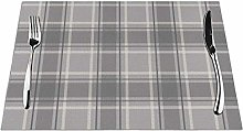 Feamo Tartan Soft Grey Charcoal Table Placemats
