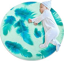 Feather, Printed Round Rug for Kids Family Bedroom