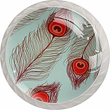 Feather Retro Glass Cabinet Knobs Glass Knobs for