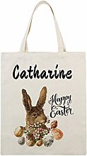 featurewill Personalised Easter Bunny Tote Bag,