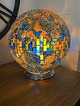 Febland Blue/Orange Mosaic Glass Sphere Lamp