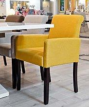 Febland Mustard Sadie Carver Chair, Linen fabric,