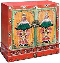 Febland Oriental Wooden 2 Door Cabinet, Wood, Red,