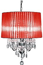 Febland Red Four Arm Beaumont Chandelier, Chrome