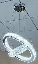 Febland Remote Control LED Two Ring Chandelier,