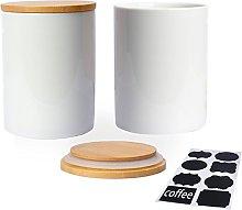 Fecihor Tea Coffee Canisters Set of 2 Ceramic
