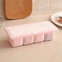 FEF 1Set 4-grid Seasoning Jar Storage Box Kitchen