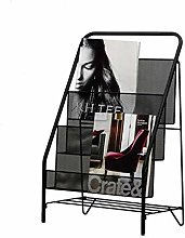 FEIYIYANG Small Bookshelf Black Metal 3-Slot