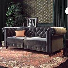 Felix Chesterfield Velvet Upholstered Sofa Bed In