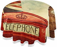 FELIZM Round Tablecloth Vintage UK Flag Telephone