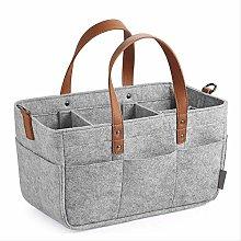 Felt Bag Felt Basket With Faux Leather Handles