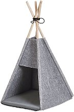 Felt Pet Teepee Tent Cat Dog Bed with Pillow 35x40