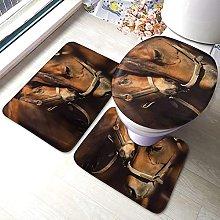 FENGBIN Horse 3 Piece Bathroom Rug Set Soft Non