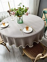 FENGDAO Grey waterproof lace round tablecloth,
