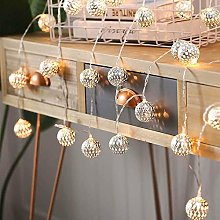 FENGLI Globe String Lights,Plug-in Metal Moroccan