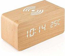 FENGLI Wooden Alarm Clock With Qi Wireless
