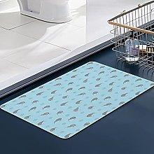 FengYe Soft Microfiber Bath Mat,Kiwi Birds on Blue