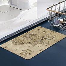 FengYe Soft Microfiber Bath Mat,Middle Earth maps
