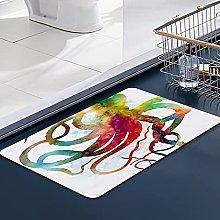 FengYe Soft Microfiber Bath Mat,Octopus Squid