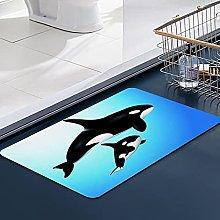 FengYe Soft Microfiber Bath Mat,Orcas Killer