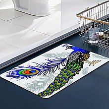 FengYe Soft Microfiber Bath Mat,Peacock Bathroom