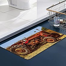 FengYe Soft Microfiber Bath Mat,Red Old Tractor