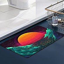 FengYe Soft Microfiber Bath Mat,Retro Wave Sunset