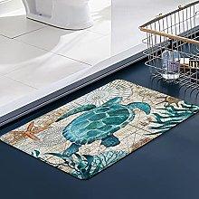 FengYe Soft Microfiber Bath Mat,Turtle Bathroom