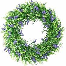 Fenteer Artificial Lavender Wreath 40cm Flower