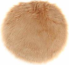 Fenteer Faux Fur Sheepskin Round Car Stool Seat