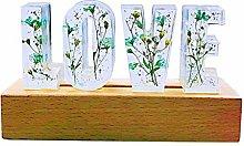 Fenteer LOVE Dried Flower Letter LED Desk Lamp,
