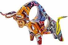 Fenteer Ox Figurine, Graffiti Bull Sculpture Desk
