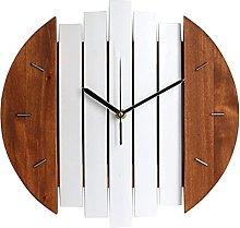 Fenteer Rustic 12 Inch Round Wooden Wall Clock,