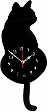 Fenteer Tail Wagging Cat Design Wall Clock Silent