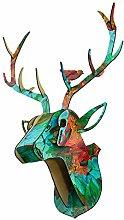 Fenteer Wood Deer Head Wall Decor Antlers
