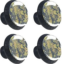 Fern and Autumn Leaves 4PCS Round Drawer Knob Pull