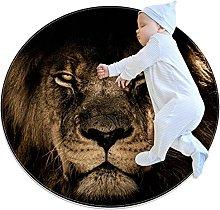 Ferocious Lion, Kids Round Rug Polyester Throw