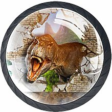 Ferocious Tyrannosaurus Crystal Door Knobs Glass