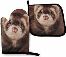 Ferret Brown Face Oven Mitts and Pot Holders 3D