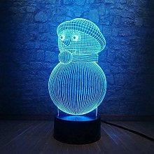 Festival 3D Cute Snowman Night Light Atmosphere