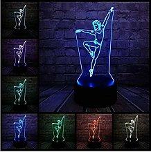 Festival Led Night Light Elegant Dancer Man 3D