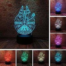 Festival Spaceship Night Light For Kids 3D